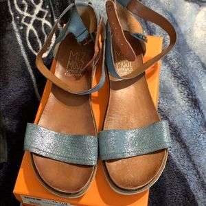 Denim. Blue. Miz mooz sandals size 41 or size 10